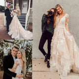 Gorgeous V Neck Long Sleeves Lace Appliques Wedding Dresses with Train KPW0507