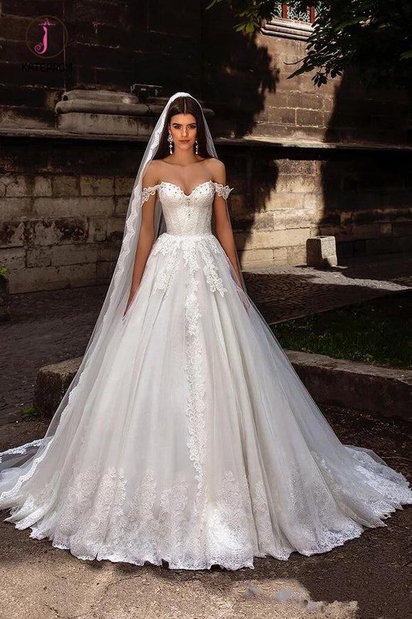 Gorgeous Off Shoulder Sweep Train Lace Up Back Tulle Wedding Dress with Appliques KPW0510