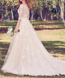 Vintage Off the Shoulder Tulle Wedding Dress with Lace, Appliqued Long Train Wedding Gown KPW0511