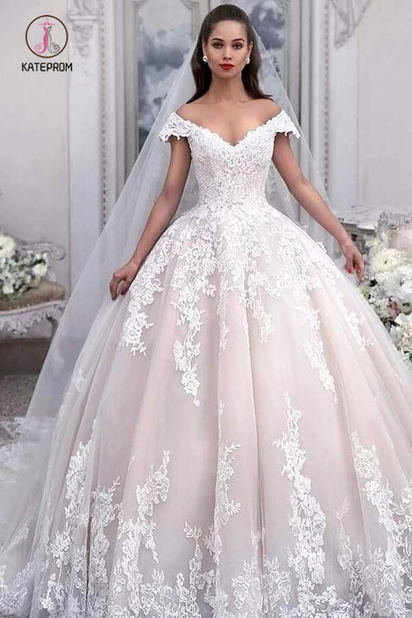 Light Pink Off the Shoulder Ball Gown Tulle Wedding Dress with Appliques, Bridal Dress KPW0512