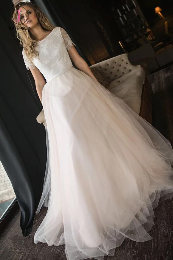 A Line Tulle Wedding Dress with Short Sleeves, Elegant Beach Wedding Dress with Lace KPW0513