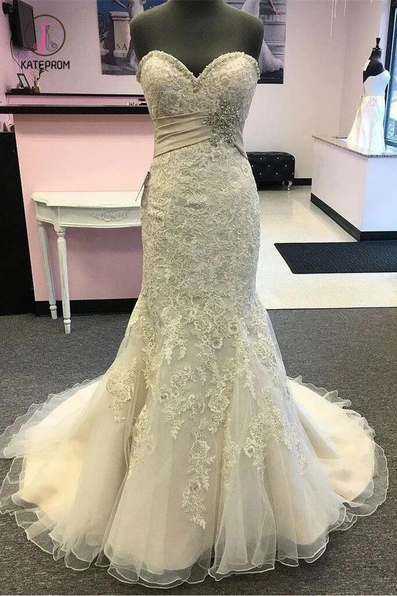 Elegant Sweetheart Mermaid Beach Wedding Dress with Beading, Lace Appliqued Bridal Dress KPW0514