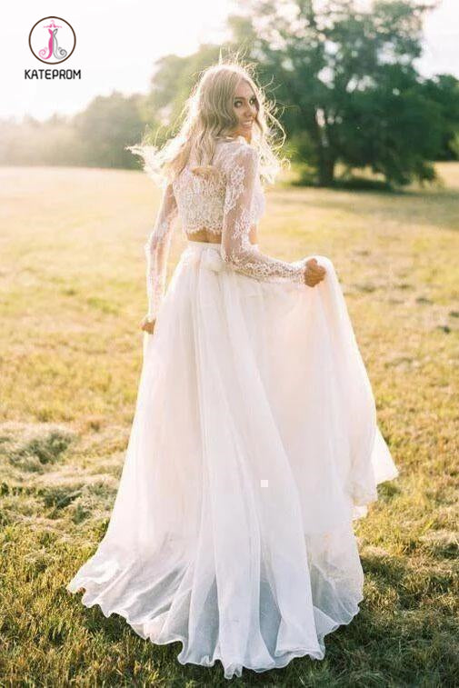 Romantic Two Piece Long Sleeves Wedding Dress with Lace, A Line Ivory Chiffon Bridal Dress KPW0515