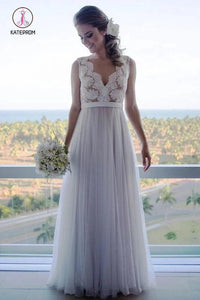 A Line Floor Length V Neck Sleeveless Tulle Beach Wedding Dress with Lace KPW0518