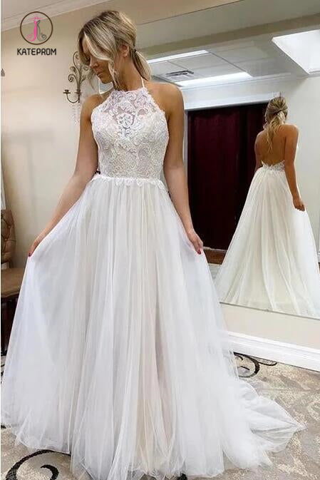 A Line Halter Tulle Wedding Dress with Lace, Backless Beach Wedding Dress with Train KPW0524