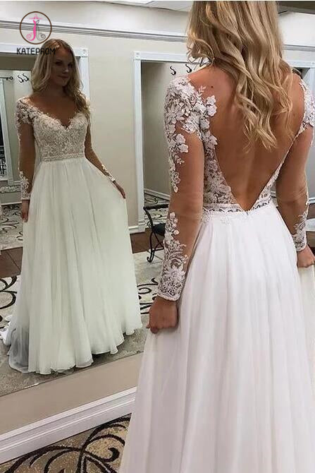 A Line Floor Length Long Sleeves V Neck Tulle Beach Wedding Dress with Lace Appliques KPW0525