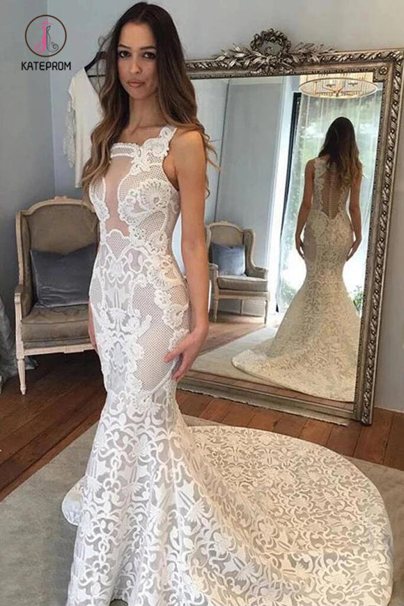 Delicate Square Sleeveless Illusion Back Court Train Lace Mermaid Wedding Dresses KPW0526