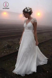 Romantic V Neck Cap Sleeves Chiffon Beach Wedding Dress with Lace Appliques KPW0533