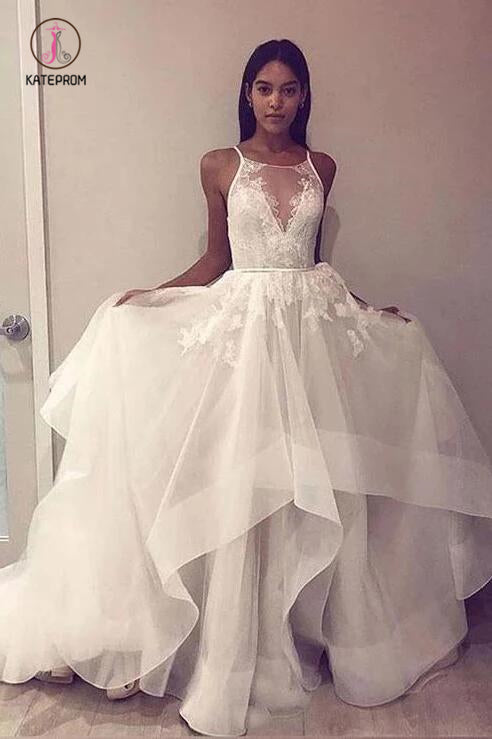 A Line Sleeveless Tulle Prom Dress with Lace Appliques, Cheap Beach Wedding Dress KPW0540
