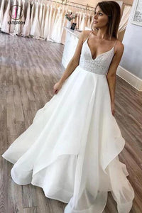 Floor Length Spaghetti Straps Beach Wedding Dress with Lace, Simple Bridal Dress KPW0542