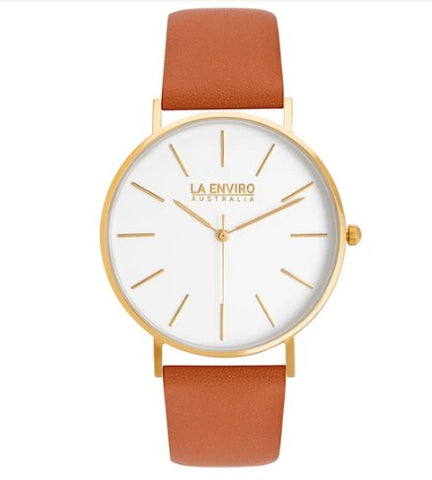 GOLD WITH TAN STRAP