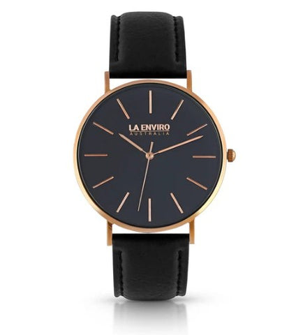 PINEAPPLE LEATHER ROSE GOLD WITH BLACK STRAP