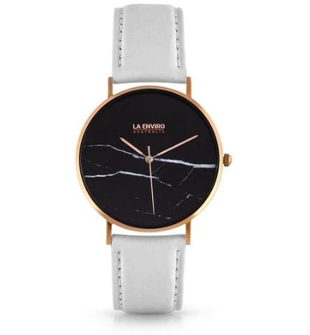 PINEAPPLE LEATHER ROSE GOLD WITH WHITE STRAP