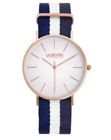 ROSE GOLD WITH BLUE & WHITE NATO STRAP