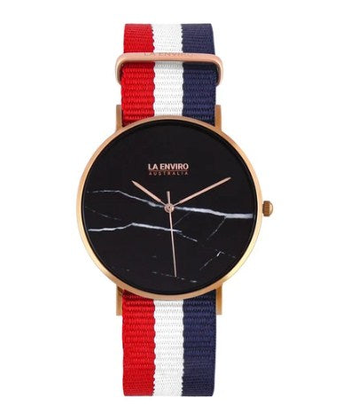 ROSE GOLD WITH RED, BLUE & WHITE NATO STRAP