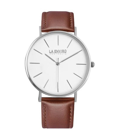 SILVER WITH BROWN STRAP