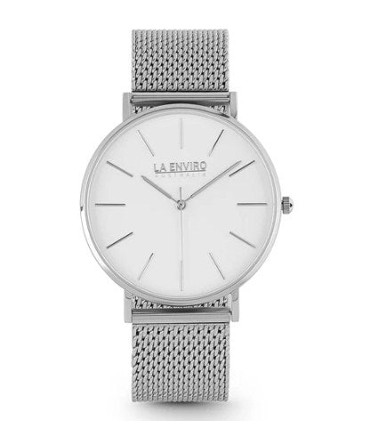 SILVER WITH SILVER MESH STRAP