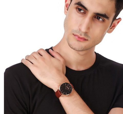 classy timepiece with a brown vegan leather