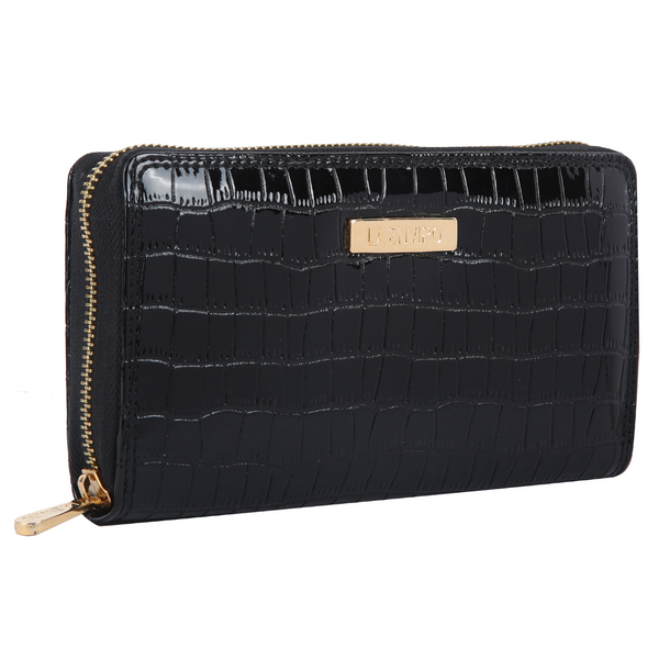 NIA Single zipper vegan wallet in black