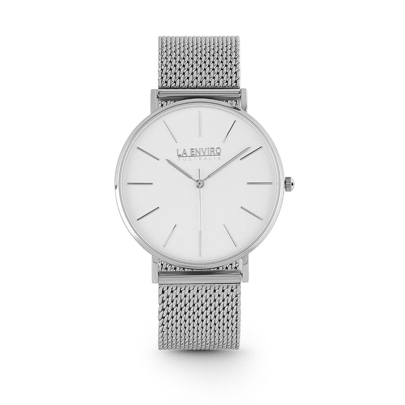 SILVER WITH SILVER MESH STRAP I TIERRA 40 MM