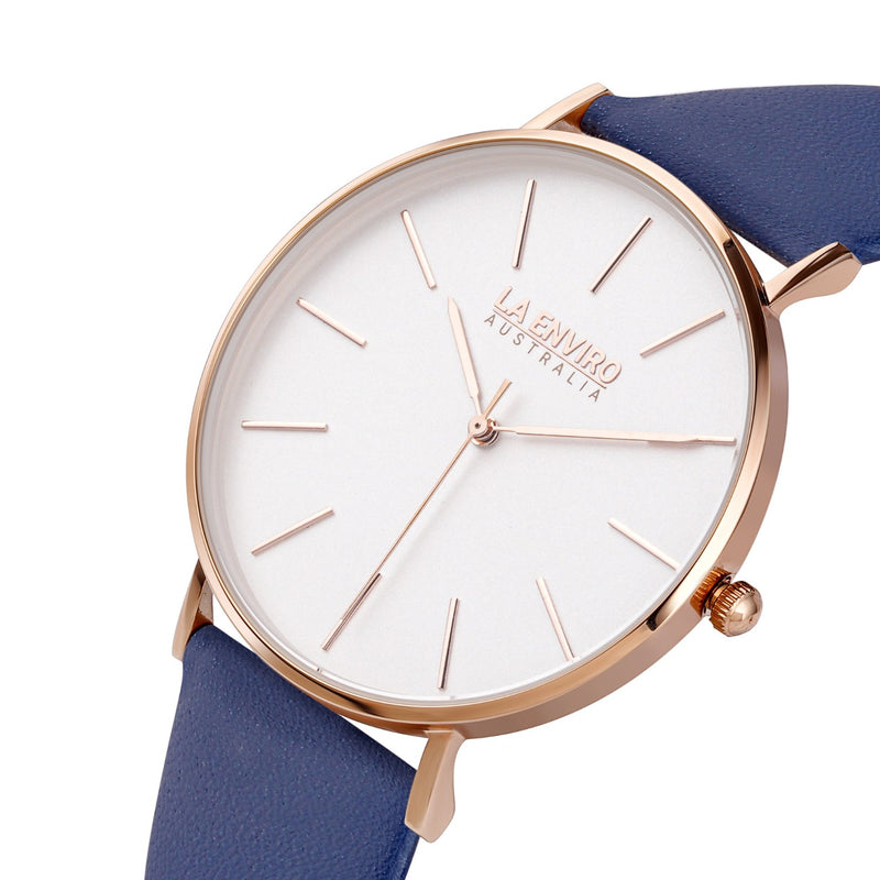 ROSE GOLD WITH  BLUE STRAP I CLASSIC 40 MM