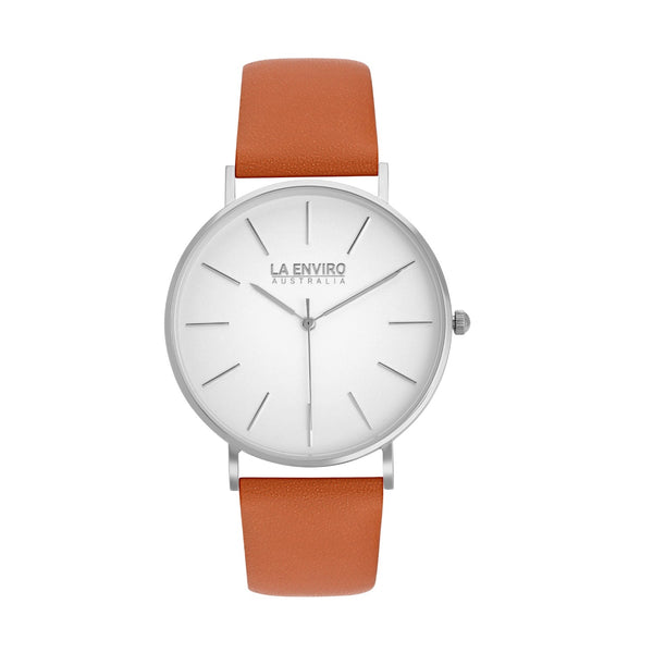SILVER WITH TAN STRAP I CLASSIC 40 MM
