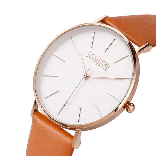 ROSE GOLD WITH TAN STRAP I CLASSIC 40 MM