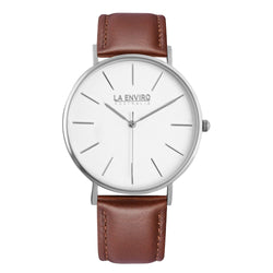 SILVER WITH BROWN STRAP I TIERRA 40 MM