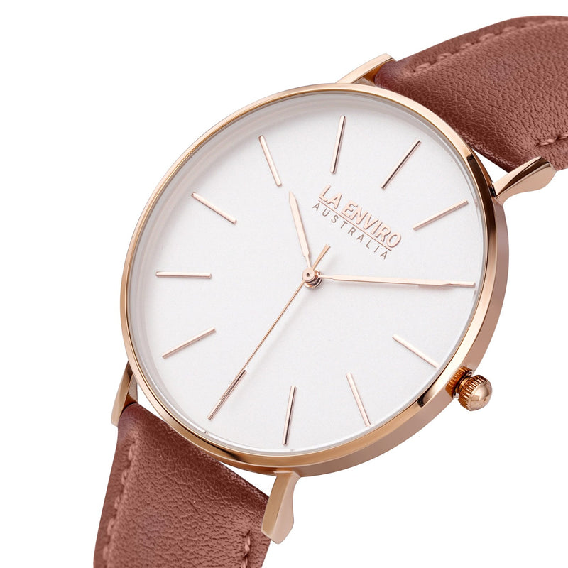 ROSE GOLD WITH BROWN STRAP I CLASSIC 40 MM