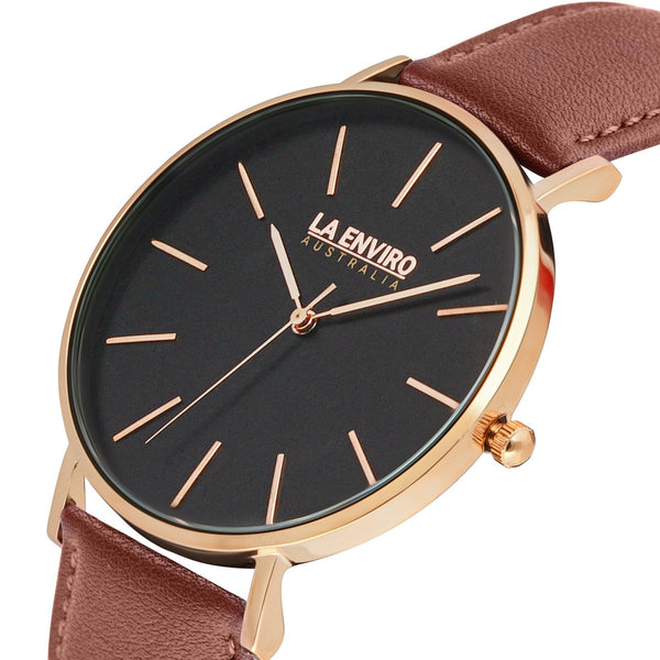 ROSE GOLD WITH BROWN STRAP I TIERRA 40 MM