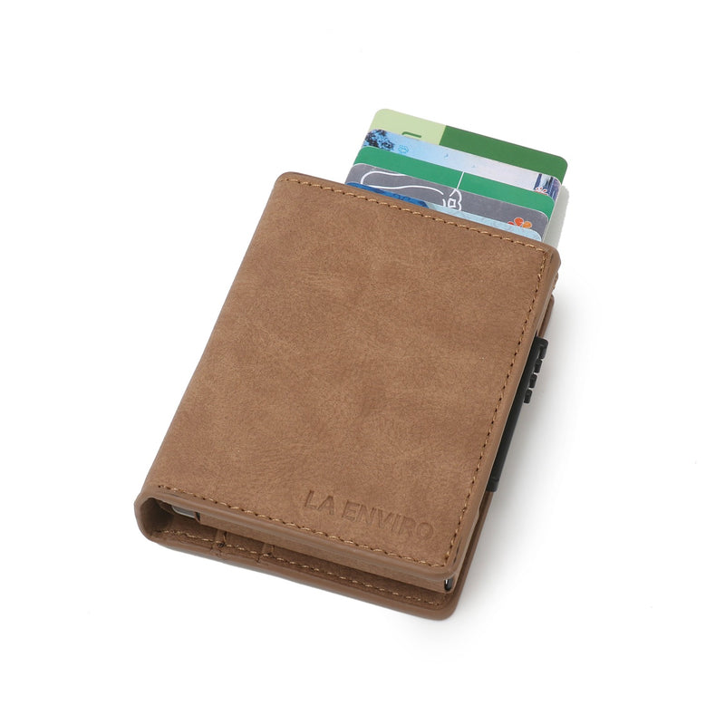 Minimalist Unisex Vegan Leather Wallet - Brown