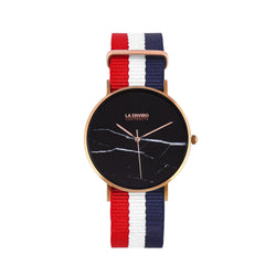 ROSE GOLD WITH RED, BLUE & WHITE NATO STRAP I MARBLE 40 MM