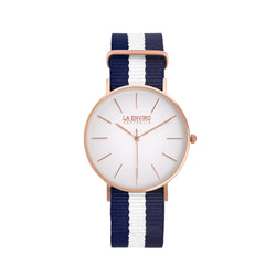ROSE GOLD WITH BLUE & WHITE NATO STRAP I CLASSIC 40 MM