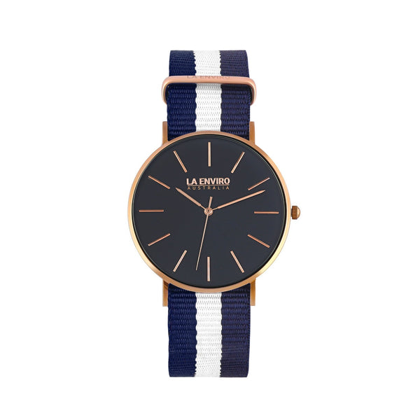 ROSE GOLD WITH BLUE & WHITE NATO STRAP I TIERRA 40 MM