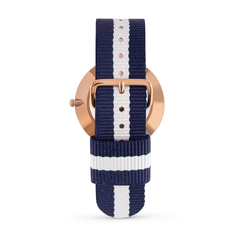 ROSE GOLD WITH BLUE & WHITE NATO STRAP I MARBLE 40 MM