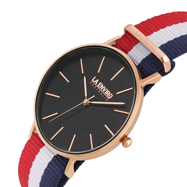 ROSE GOLD WITH RED, BLUE & WHITE NATO STRAP I TIERRA 40 MM