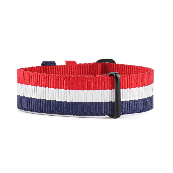 NATO VEGAN RED, WHITE & BLUE WITH BLACK BUCKLE | 20MM
