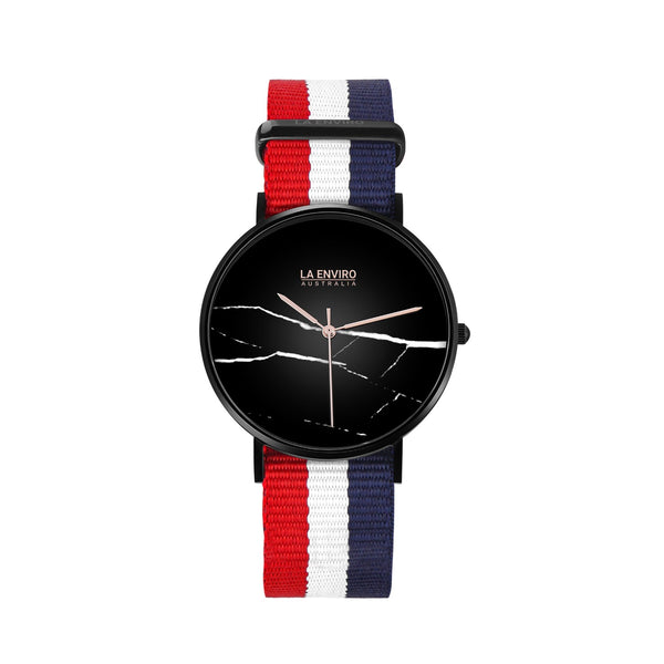 BLACK WITH RED, BLUE & WHITE NATO STRAP I MARBLE 40 MM