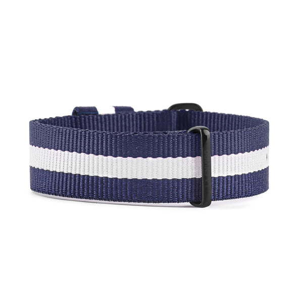 NATO VEGAN BLUE & WHITE WITH BLACK BUCKLE | 20MM
