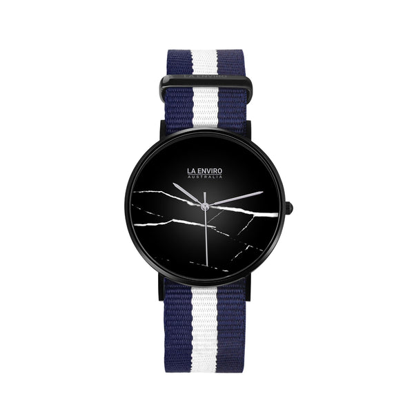 BLACK WITH BLUE & WHITE NATO STRAP I MARBLE 40 MM