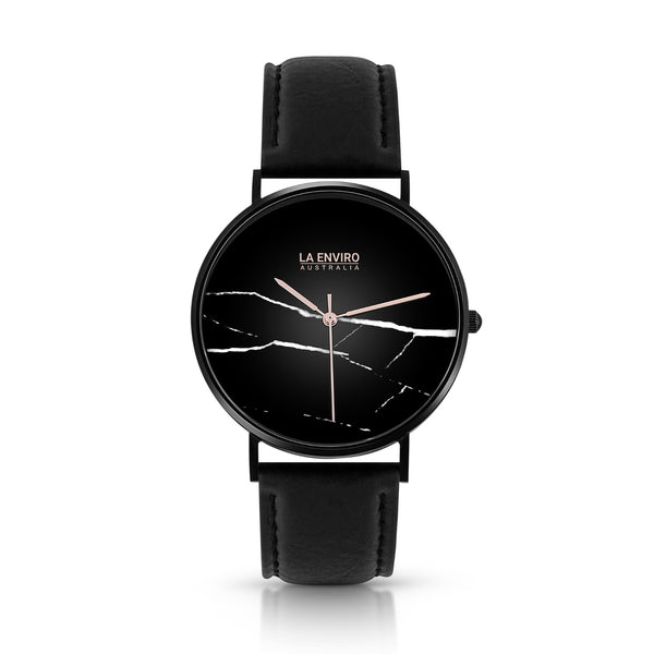 PINEAPPLE LEATHER BLACK WITH BLACK STRAP I MARBLE 40 MM