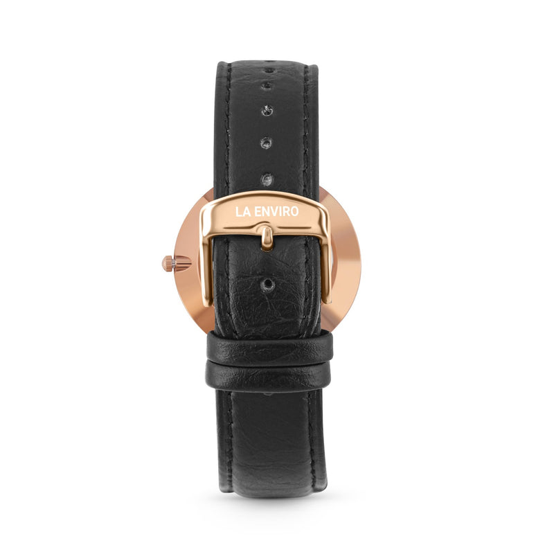 PINEAPPLE LEATHER ROSE GOLD WITH BLACK STRAP I MARBLE 40 MM