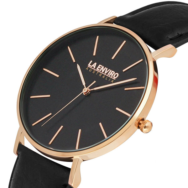 PINEAPPLE LEATHER ROSE GOLD WITH BLACK STRAP I TIERRA 40 MM