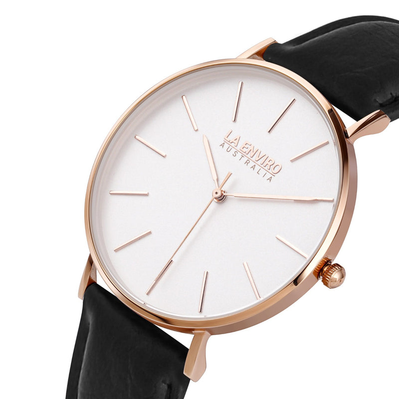 PINEAPPLE LEATHER ROSE GOLD WITH BLACK STRAP I CLASSIC 40 MM
