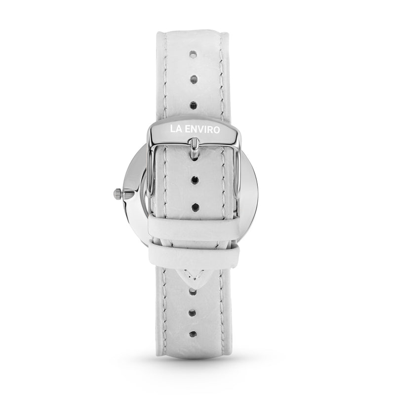 PINEAPPLE LEATHER SILVER WITH WHITE STRAP I 40 MM