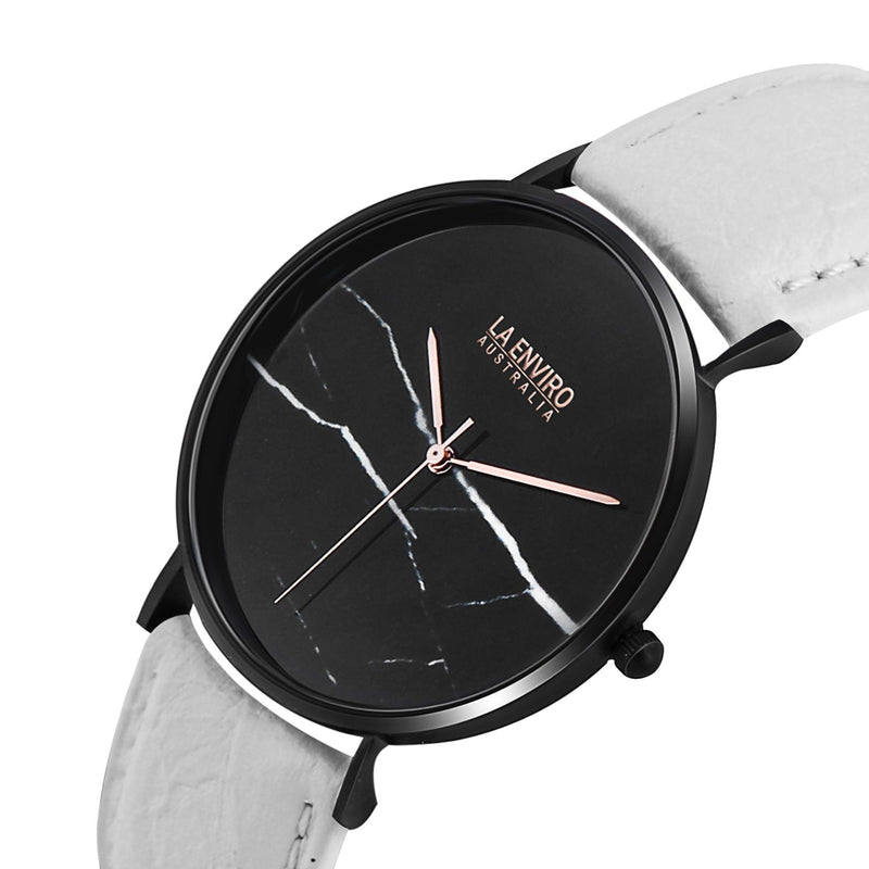 PINEAPPLE LEATHER BLACK WITH WHITE STRAP I MARBLE 40 MM