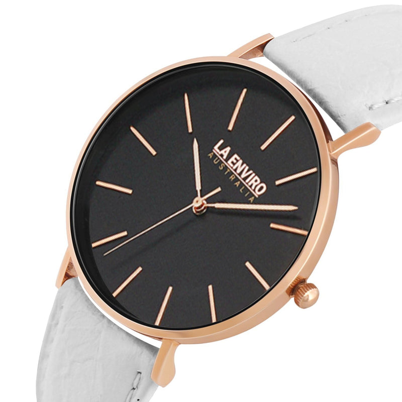 PINEAPPLE LEATHER ROSE GOLD WITH WHITE STRAP I 40 MM