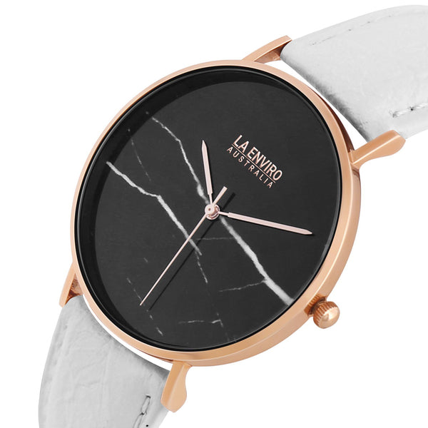 PINEAPPLE LEATHER ROSE GOLD WITH WHITE STRAP I MARBLE 40 MM