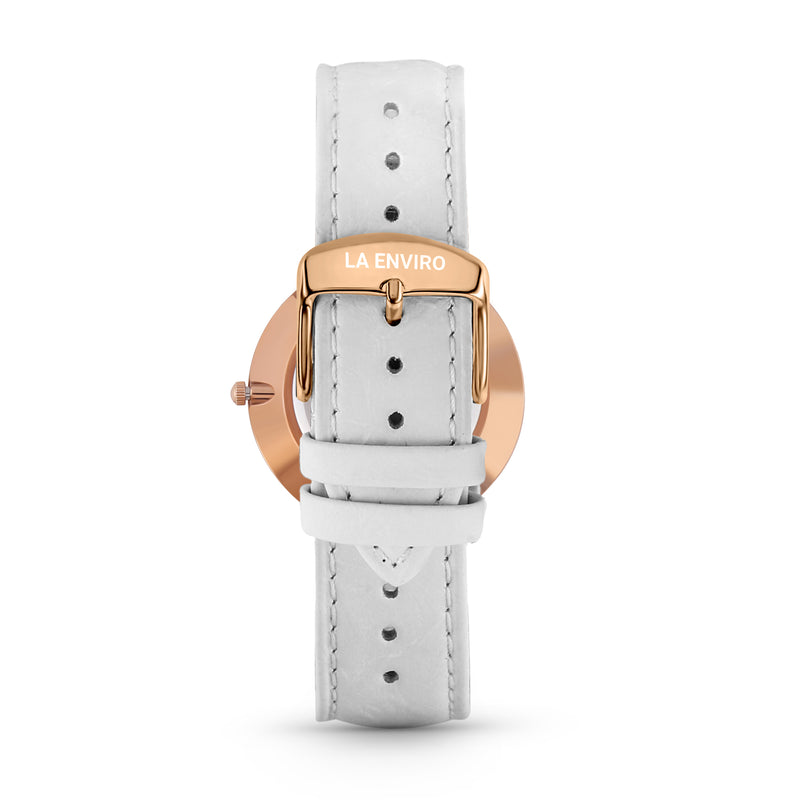 PINEAPPLE LEATHER ROSE GOLD WITH WHITE STRAP I GIFT SET