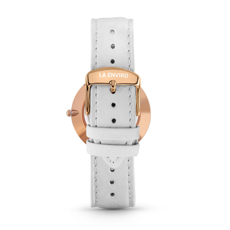 PINEAPPLE LEATHER ROSE GOLD WITH WHITE STRAP I CLASSIC 40 MM